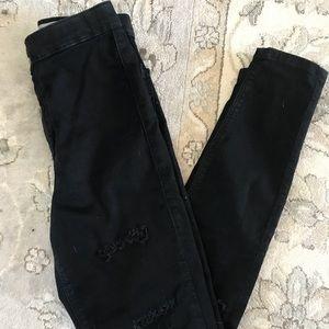 Topshop Black Distressed Joni Jeans